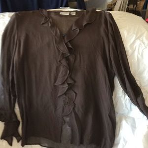 Chico's sheer brown cardigan.  Size 1 Chico's